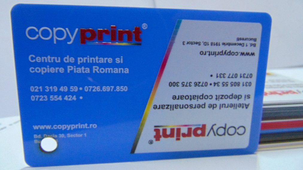 carte de vizita plastic albastru